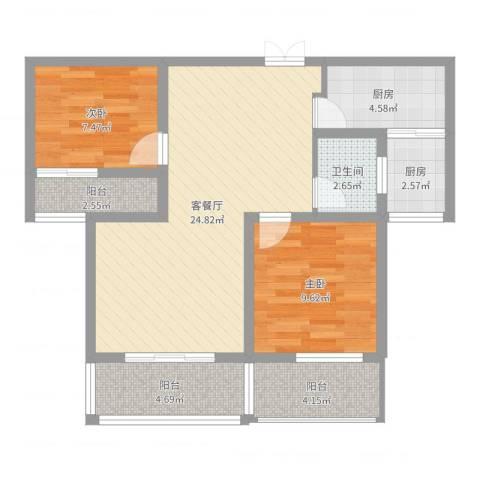 荣昌绿园2室2厅1卫2厨79.00㎡户型图