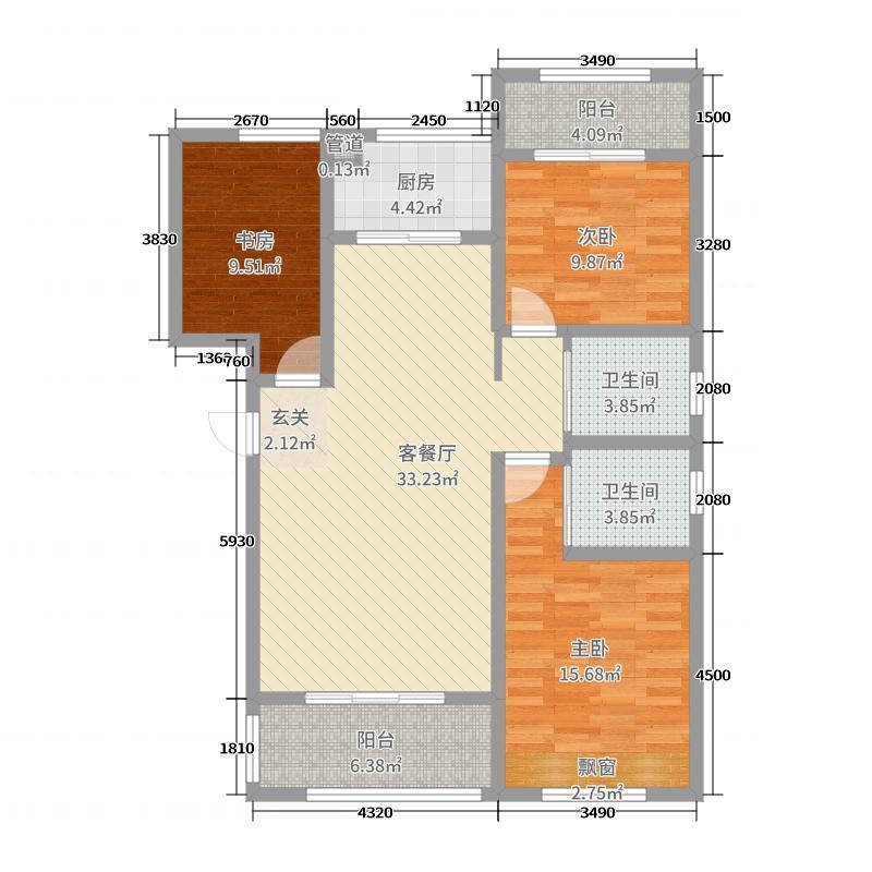 天湖国际119.66㎡2#楼标准层A2户型3室3厅2卫1厨