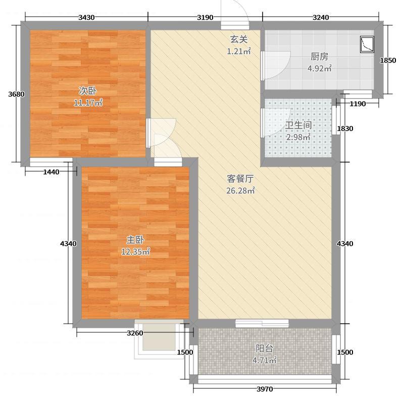 法兰原著78.00㎡二期E户型2室2厅1卫1厨