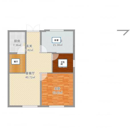 世茂泊郡2室2厅1卫1厨128.00㎡户型图