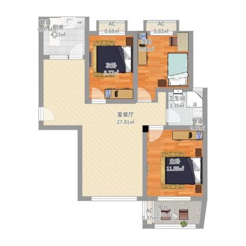 优山美地3室2厅1卫1厨103.00㎡户型图