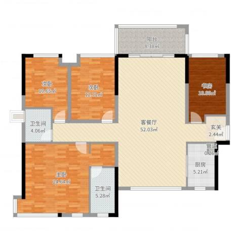 世纪城国际公馆三期4室2厅2卫1厨168.00㎡户型图