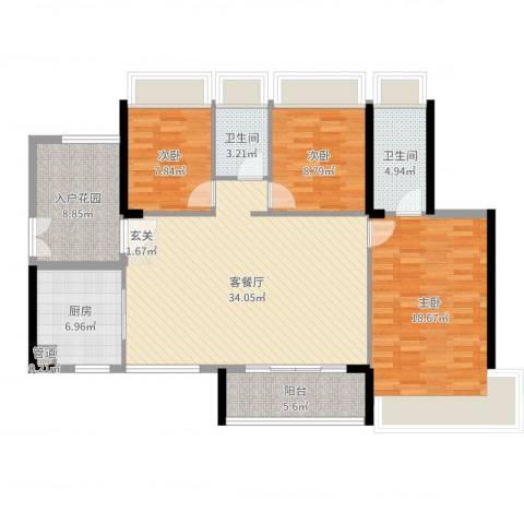 东建锦绣龙湾3室2厅2卫1厨139.00㎡户型图