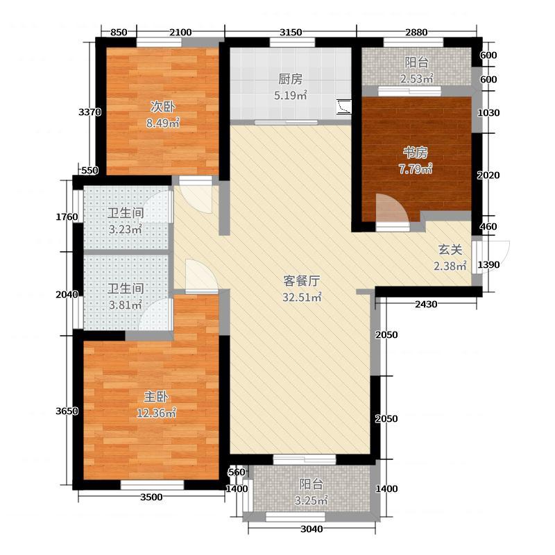 中海・凯旋门110.00㎡A1户型3室3厅2卫1厨
