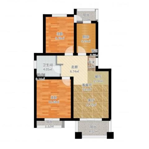 丰水宝邸2室2厅1卫1厨76.00㎡户型图