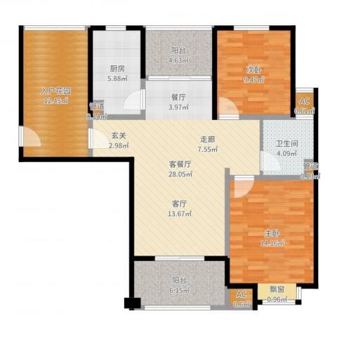 丰水宝邸西苑2室2厅1卫1厨108.00㎡户型图