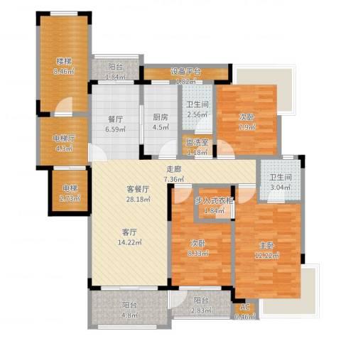 丰水宝邸西苑3室2厅2卫1厨121.00㎡户型图
