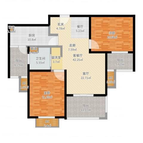 丰水宝邸西苑2室2厅1卫1厨161.00㎡户型图