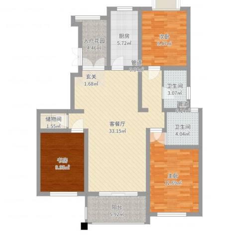 枫桥湾名邸3室2厅2卫1厨113.00㎡户型图
