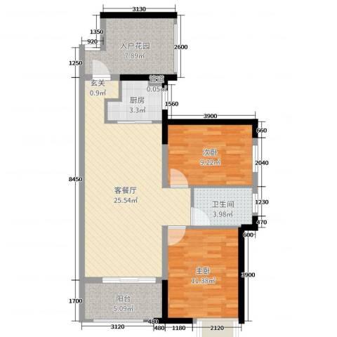 万科金域蓝湾2室2厅1卫1厨85.00㎡户型图