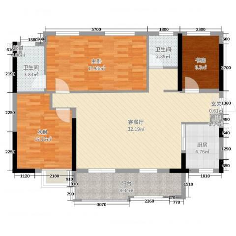 万科金域蓝湾3室2厅2卫1厨120.00㎡户型图
