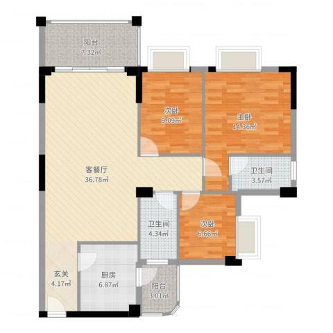 四洲城市经典3室2厅2卫1厨115.00㎡户型图