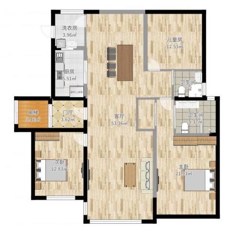 和协风格尚品3室1厅2卫1厨159.00㎡户型图