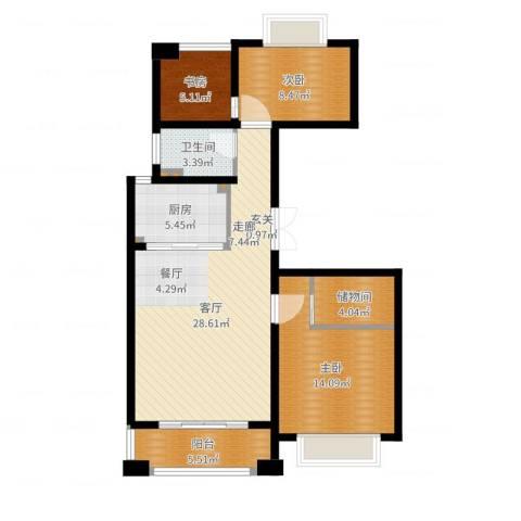 米兰诺贵都3室1厅1卫1厨93.00㎡户型图