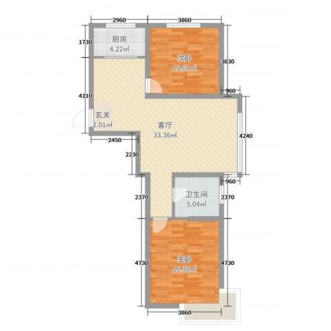 世纪豪庭2室1厅1卫1厨90.00㎡户型图