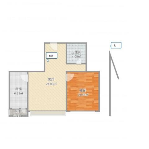 古城北路甲4号楼1室1厅1卫1厨62.00㎡户型图