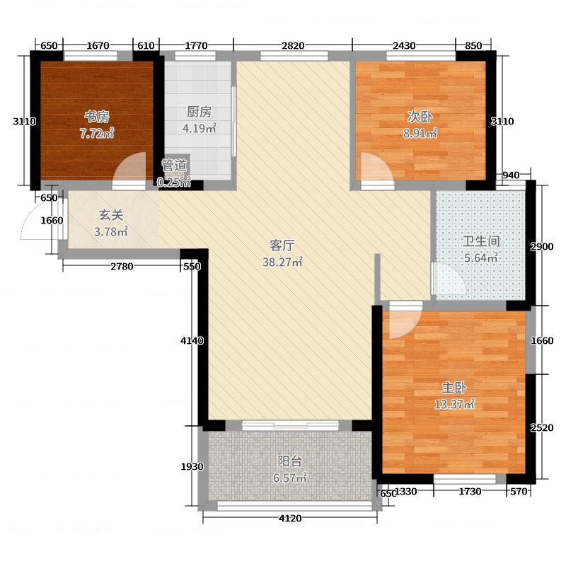 天纵城107.00㎡11、12号楼户型3室3厅1卫1厨