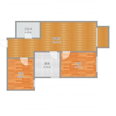三里河三区阿姨2室2厅1卫1厨70.00㎡户型图