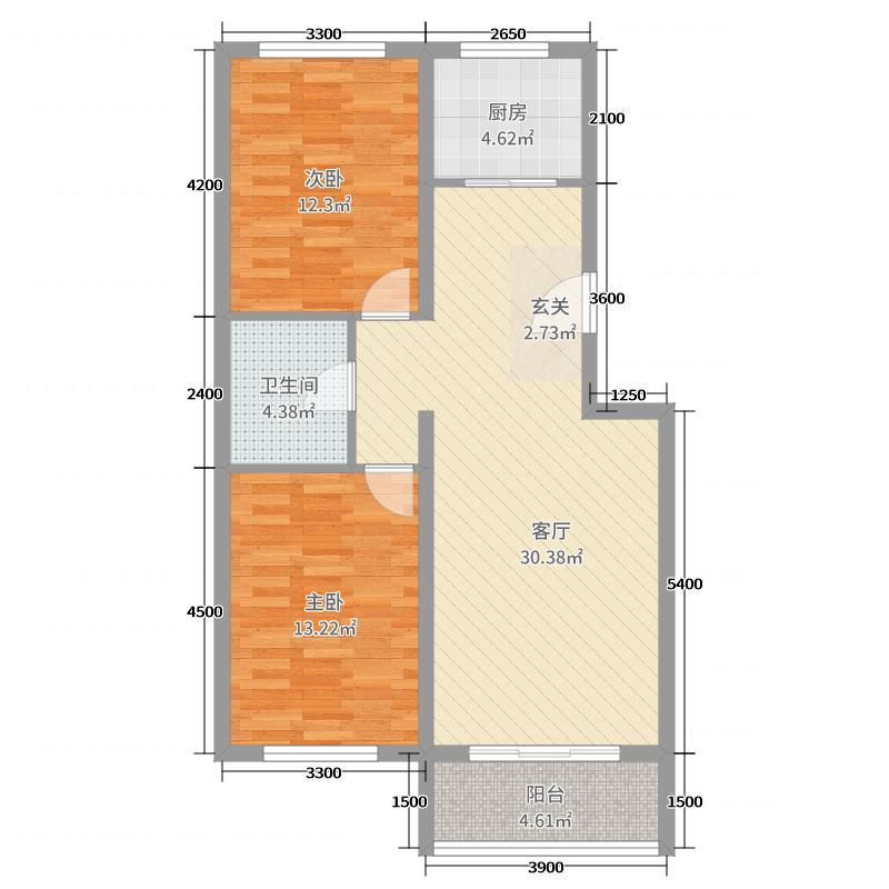 宏达世纪花苑89.00㎡户型2室2厅1卫1厨