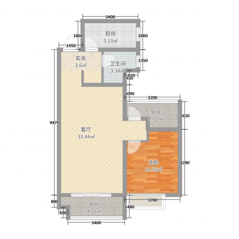 祝福红城76.89㎡五期1号楼2C户型1室1厅1卫1厨