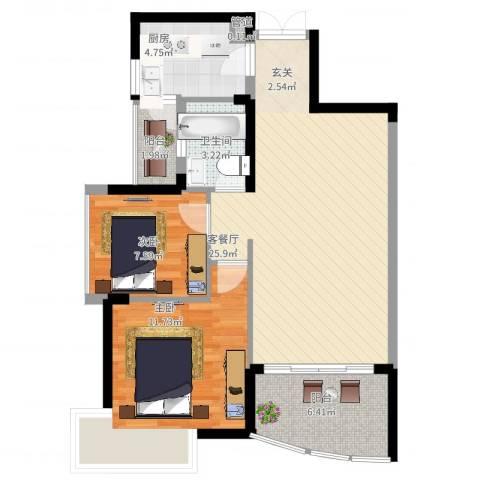 锦绣江南三期2室2厅1卫1厨88.00㎡户型图