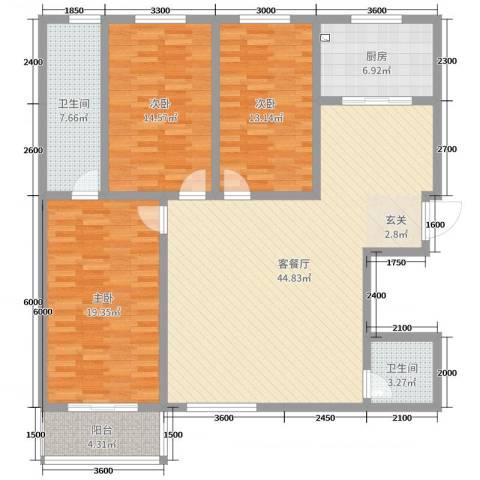 华浮宫桂园3室2厅2卫1厨114.05㎡户型图