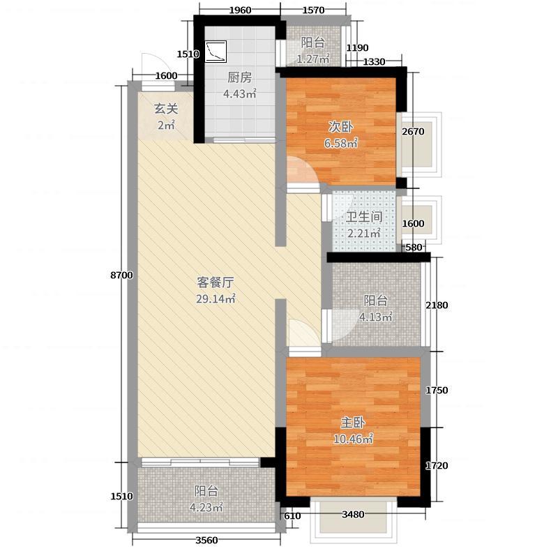 御江1号91.45㎡4栋03户型3室3厅1卫1厨