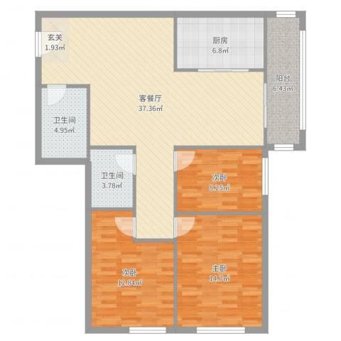 安慧北里逸园3室2厅2卫1厨119.00㎡户型图