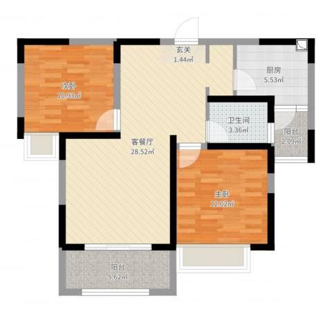 城中花园2室2厅1卫1厨85.00㎡户型图