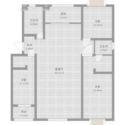 普兰银河花园3室2厅2卫1厨148.00㎡户型图