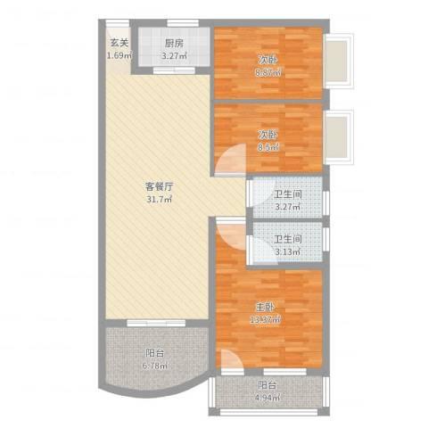 铁湖书院3室2厅2卫1厨104.00㎡户型图
