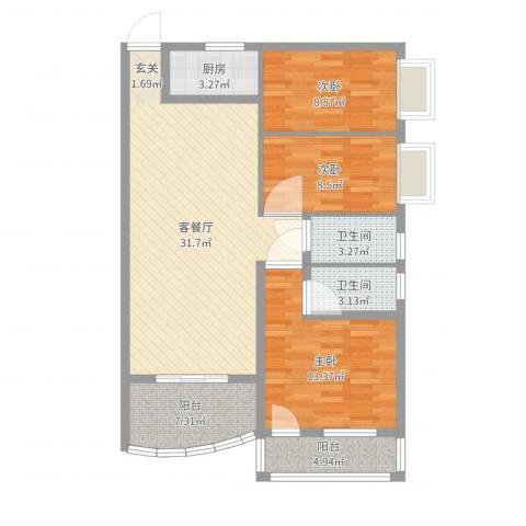铁湖书院3室2厅2卫1厨103.00㎡户型图