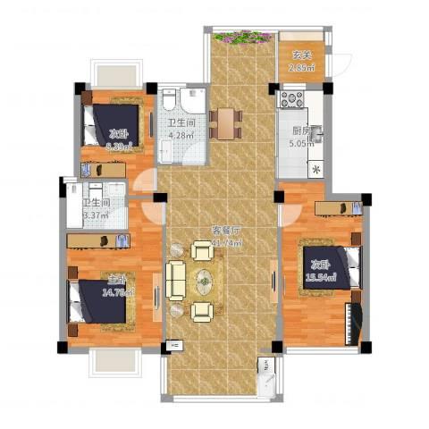 江都金域地中海3室2厅2卫1厨120.00㎡户型图