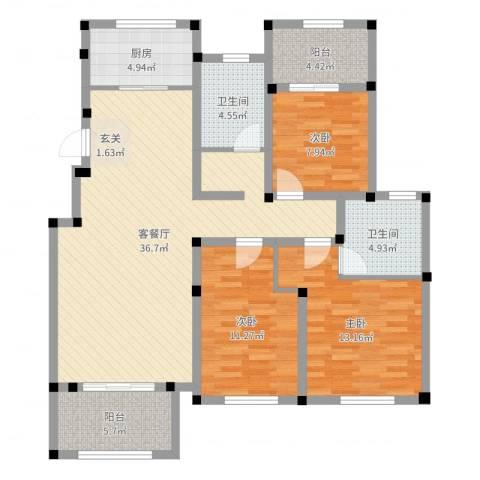 正商红河谷3室2厅2卫1厨136.00㎡户型图