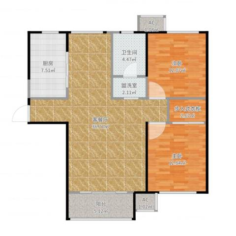 东丽湖万科城小镇里2室2厅1卫1厨107.00㎡户型图