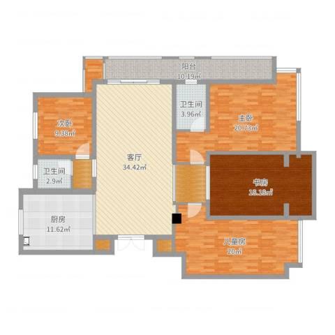 虎豹郡王府4室1厅2卫1厨174.00㎡户型图