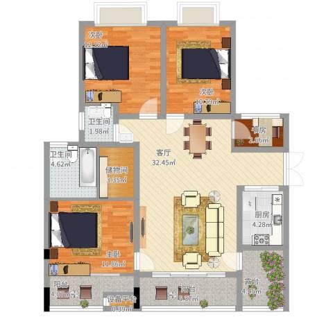 广厦城洛卡庄园4室1厅2卫1厨143.00㎡户型图