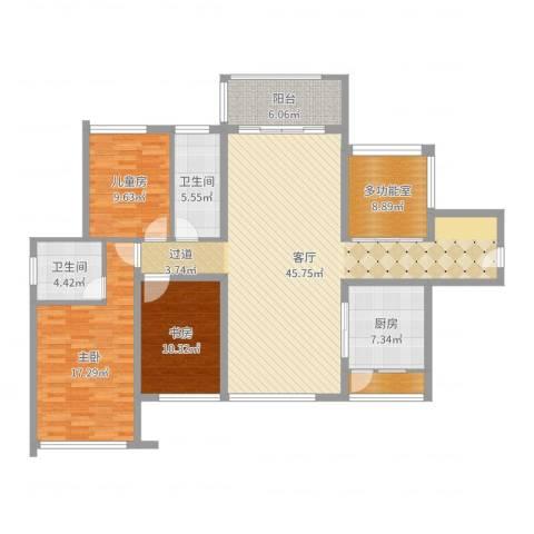 滨江一号3室1厅2卫1厨145.00㎡户型图