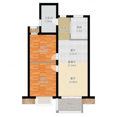 国耀星达城2室2厅1卫1厨85.00㎡户型图