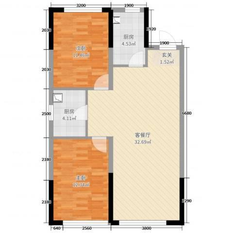美的城2室2厅0卫2厨93.00㎡户型图