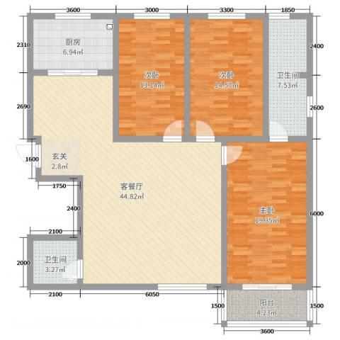 华浮宫桂园3室2厅2卫1厨145.00㎡户型图