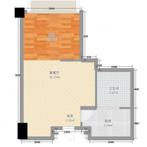 远洋壹中心2厅1卫1厨52.00㎡户型图