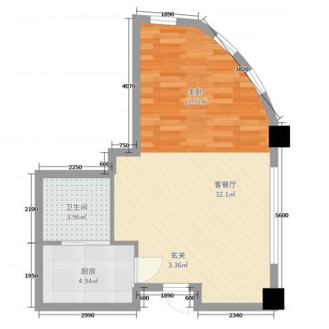 远洋壹中心2厅1卫1厨51.00㎡户型图