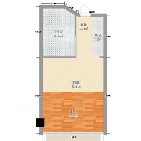 远洋壹中心2厅1卫0厨51.00㎡户型图