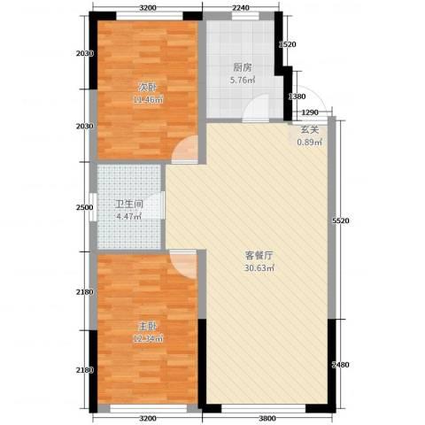 美的城2室2厅1卫1厨93.00㎡户型图