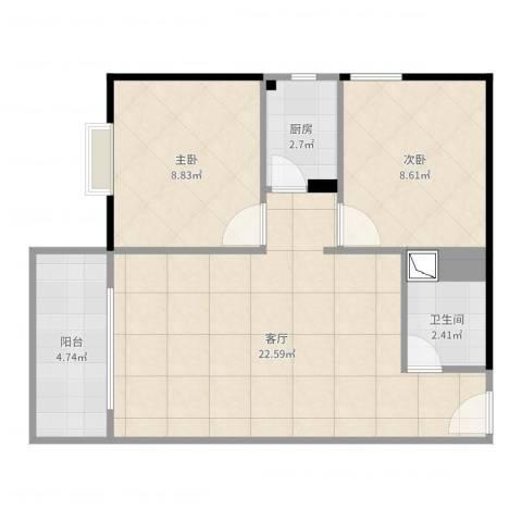 金碧花园2室1厅1卫1厨70.00㎡户型图