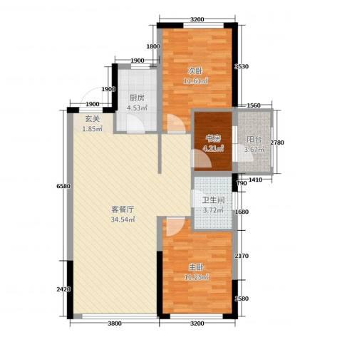 美的城3室2厅1卫1厨102.00㎡户型图
