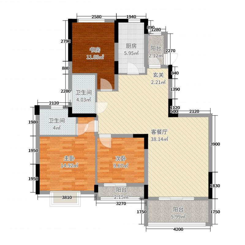 恒大龙�B项目130.00㎡一期珺璟D户型3室3厅2卫1厨
