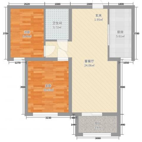 北斗星城东区・御府Ⅱ期2室2厅1卫1厨81.00㎡户型图