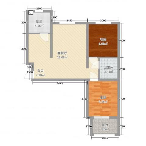 北斗星城东区・御府Ⅱ期2室2厅1卫1厨82.00㎡户型图